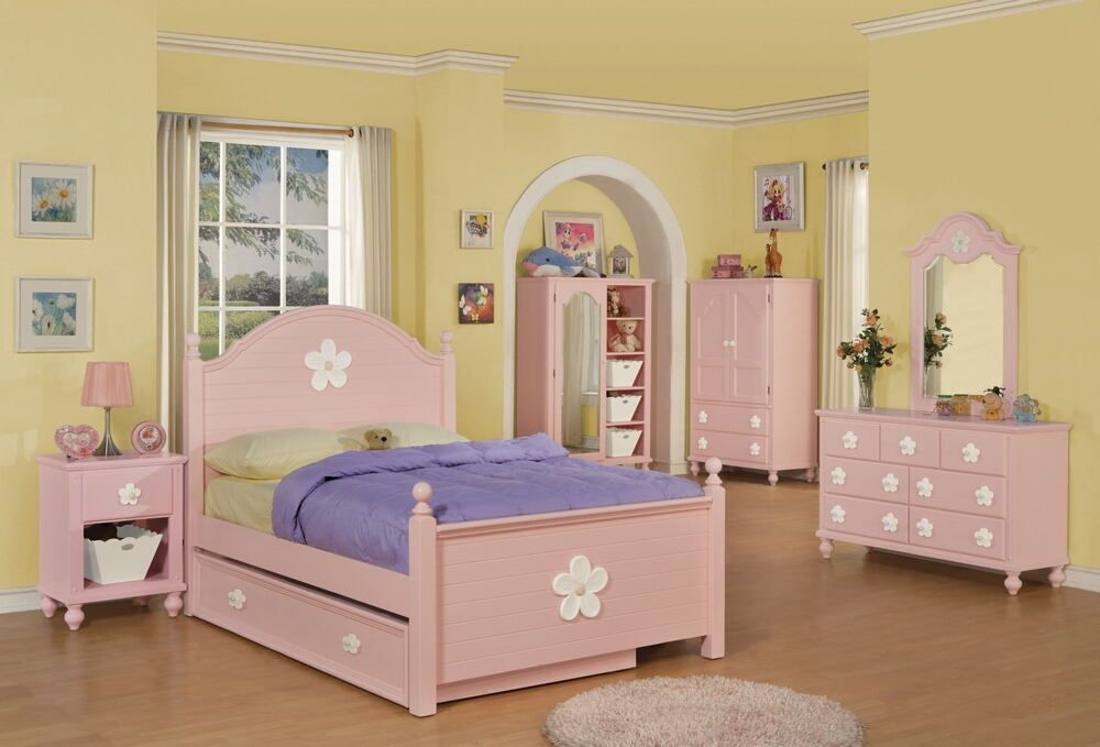 5 pc Crowley collection pink white finish wood twin bedroom set