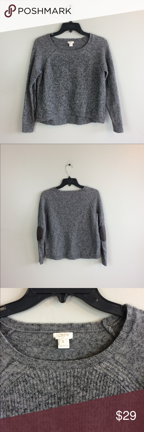 """J. Crew Elbow Patch Pullover Sweater From J. Crew Factory. Slight Hi-lo style. 20"""" length front: 22"""" length back: 18"""" pit to pit: 25"""" sleeve to shoulder: no trades. J. Crew Factory Sweaters Crew & Scoop Necks"""