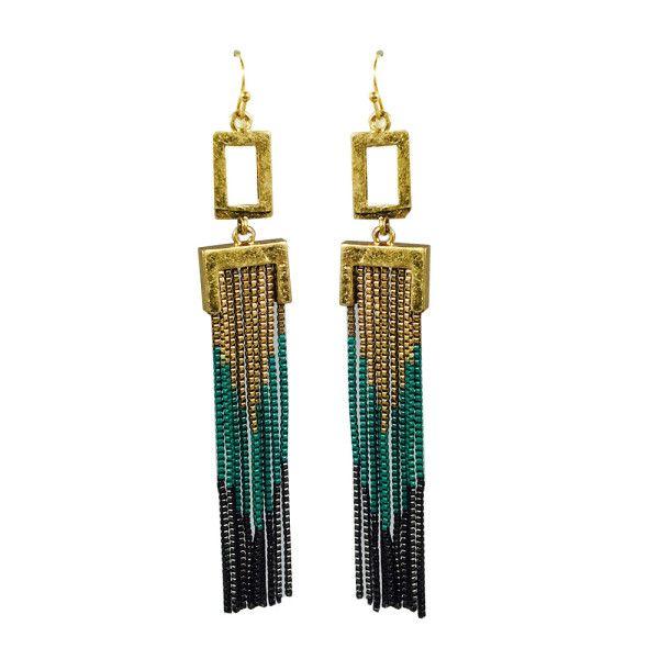 Modeschmuck ohrringe schwarz  Schwarz-Gold-Tuerkis-Blau-Wasserfall-Indian-Waterfall-Ohrhaenger ...