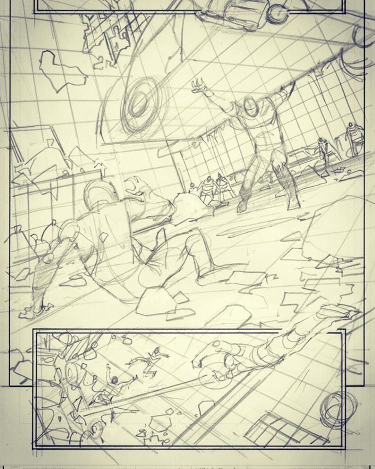 Adam Kubert Avengers 7 pg 8 pencil rough #avengers #marvelcomics
