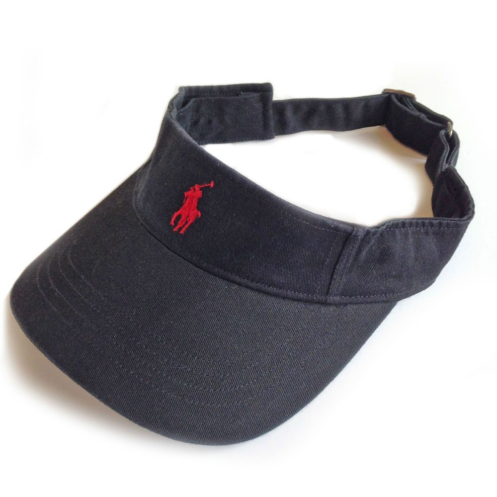 f792f95d Polo Ralph Lauren Visor Cap Hat Black + Red Pony. Tennis & Golf. Special  Price