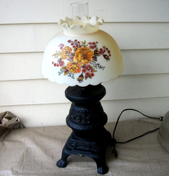 Vintage Table Lamp, Pot Belly Stove