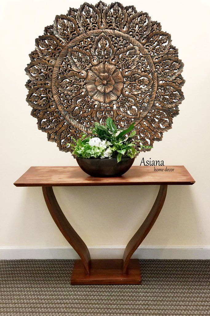 Elegant Wood Carved Wall Plaque Large Round Unique Thai Wood Carving Floral Wall Decor Panel Avai Round Wall Art Decor Carved Wood Wall Art Floral Wall Decor