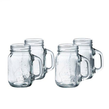 La Maison Set of 4 Mason Jars, 3.9 inch x 3.15 inch x 5.3 inchH, 16 oz, Clear