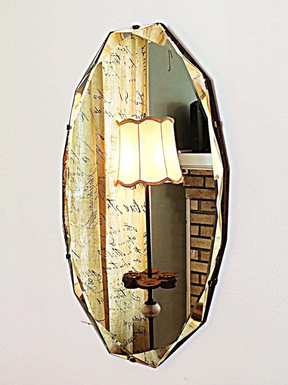 Large antique frameless diamond cut beveled edge art deco 12 sided ...