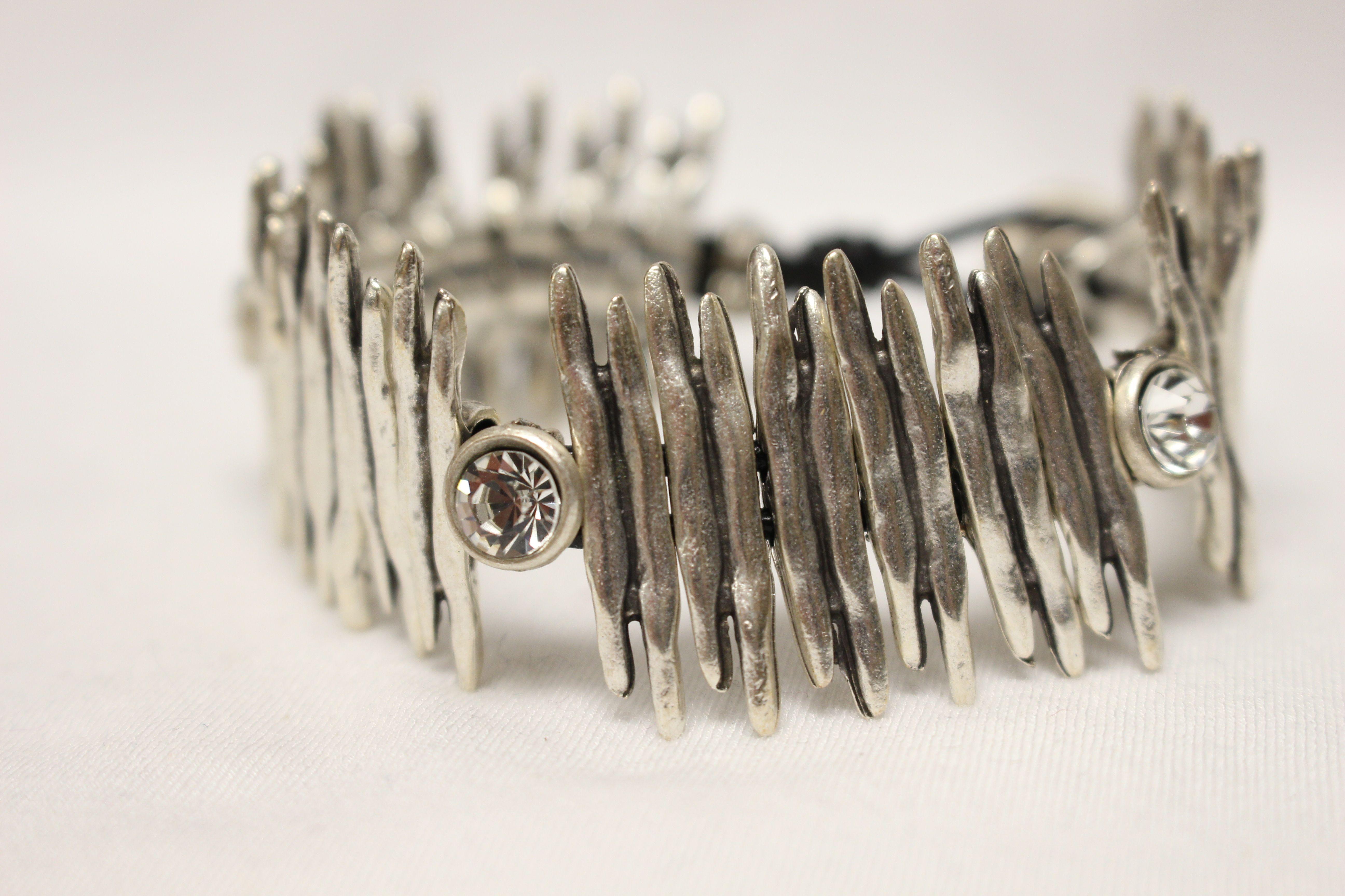 18050 CZ Bracelet $51 #CZ #Herringbone #Metal #Indian-made #Bracelet #Cafe #Boutique #Iowa #Fashion #Jewelry #Iowa #Silver