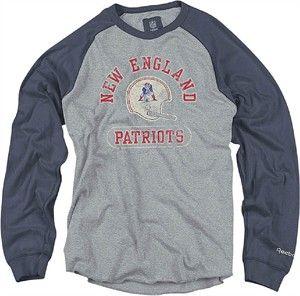 e39c324d4 Reebok New England Patriots Grey Vintage Raglan Long Sleeve Crew ...
