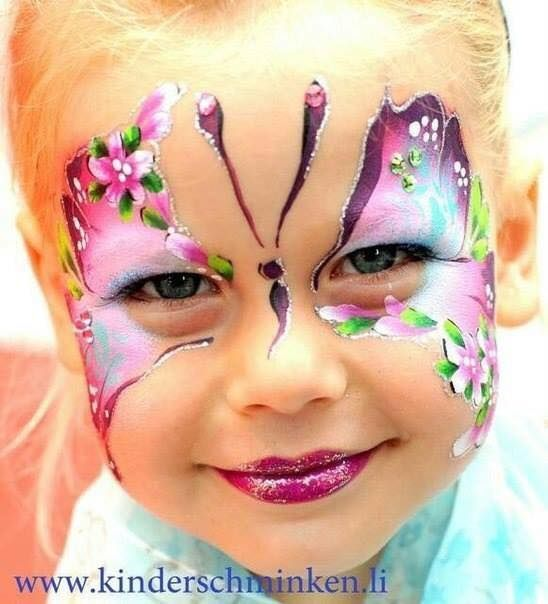 Awesome girls face painting - butterfly