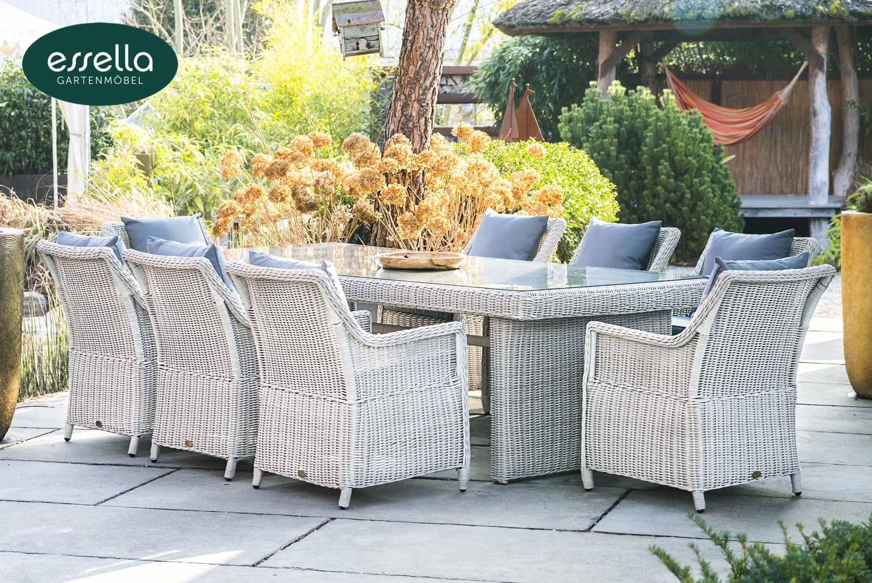 Gemutliche Essgruppe Fur 8 Personen Die Polyrattan Essgruppe Dubai Ist Eine Klassische Gartengarnitur Polyrattan Sitzgruppe Polyrattan Gartenmobel Polyrattan