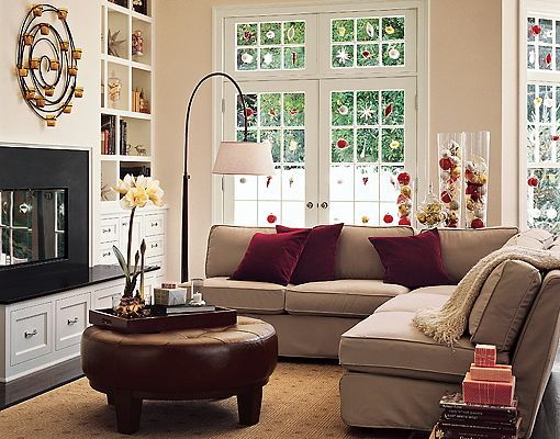 Beige Sofa Burgundy Cushions Decorating For The