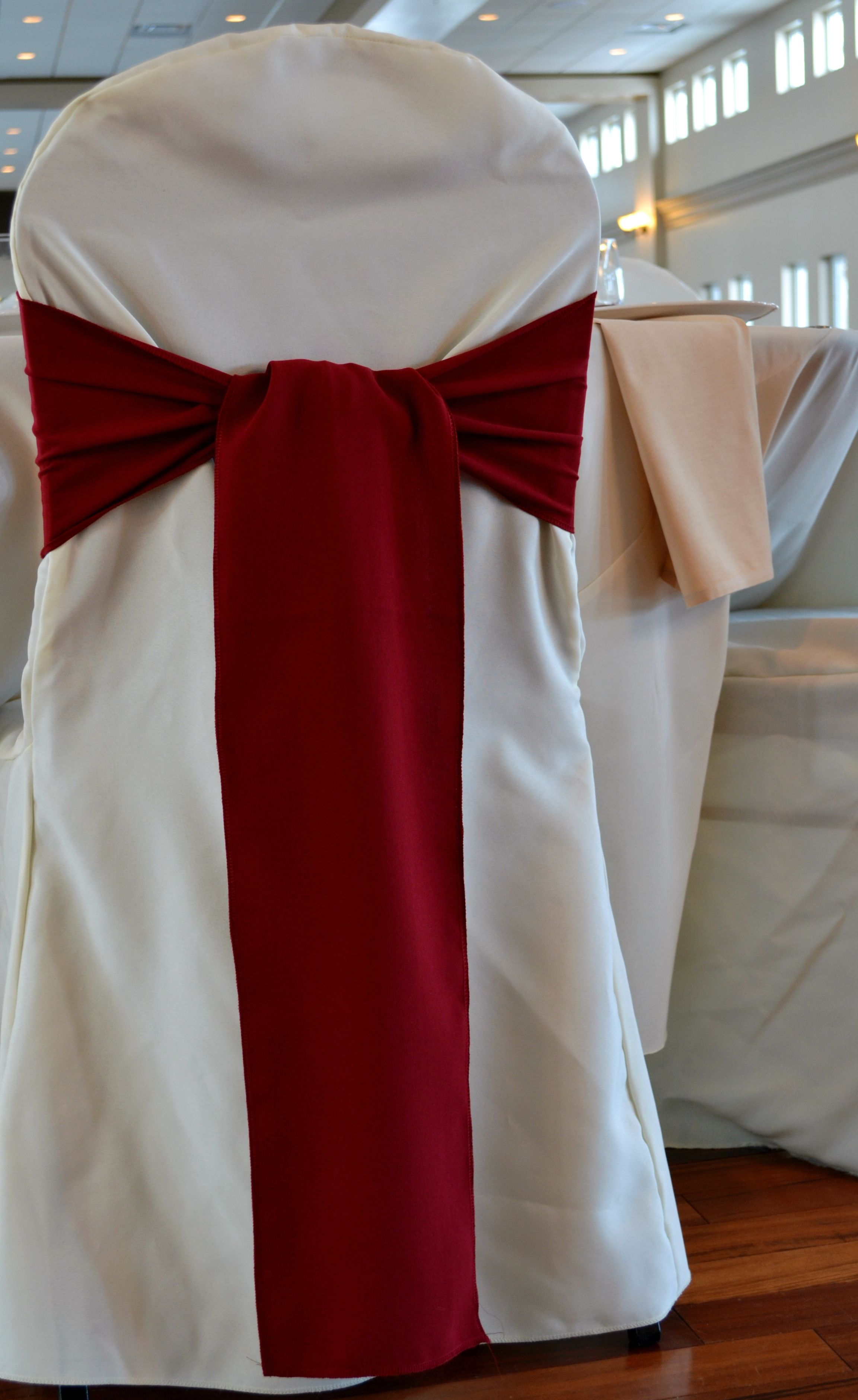 burgundy chair covers wedding old barber sash on ivory cover make it yours