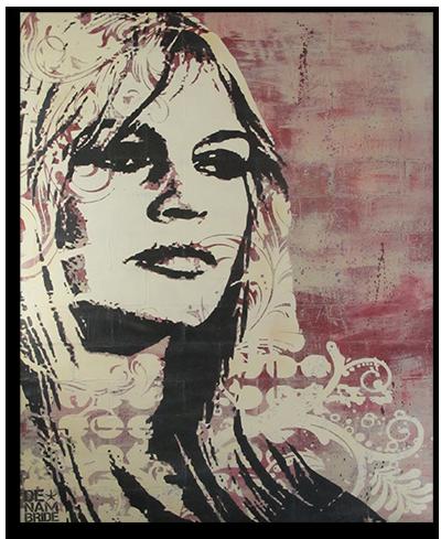 "Follow me at : www.facebook.com/denambride  Brigitte Bardot - DENAMBRIDE  Concrete Canvas   48""x60""x1.75""  www.denambride.com"