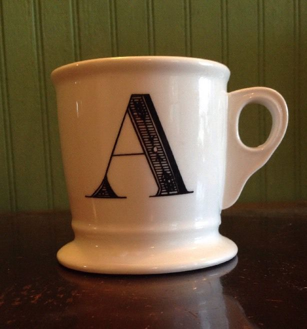 anthropologie 14oz white coffee mug cup black letter a initial monogram anthropologie