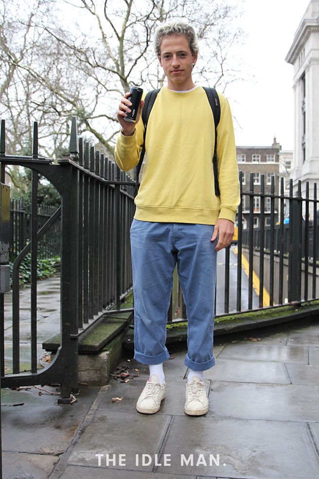 London Collections Men street style, straight leg trousers, a yellow sweater, a pair of white socks and classic Vans pimsolls create the perfect retro look | The Idle Man