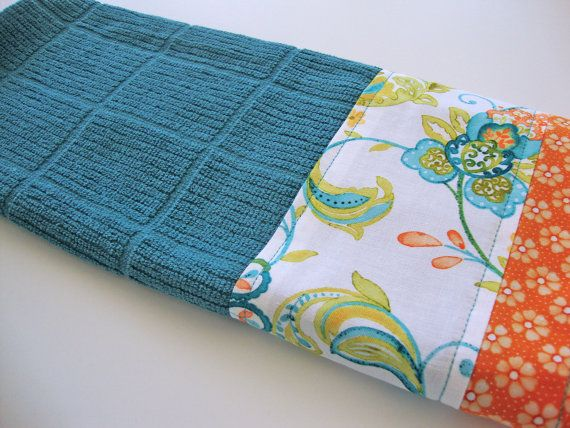 Decorative Kitchen Dish Towels Fabric Trimmed Hand Towel Teal
