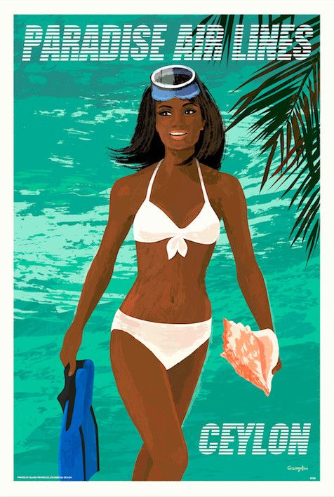 Fly Paradise Airlines, Ceylon (Conch Diver Girl), 1960s Retro.