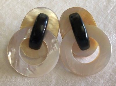 Pre Owned Monies Mother Of Pearl Ebony Clip On Earrings