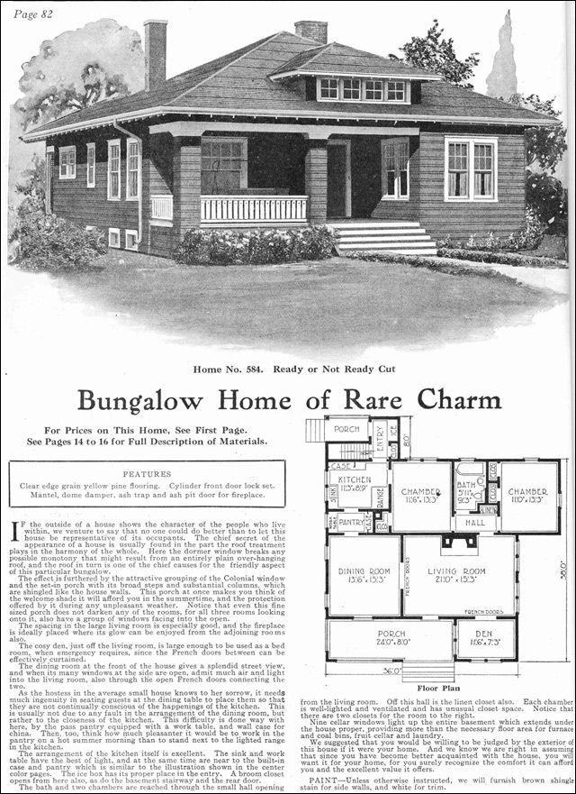 1918 craftsman style bungalow kit house gordon van tine model no 584 - Cylinder Home Floor Plans
