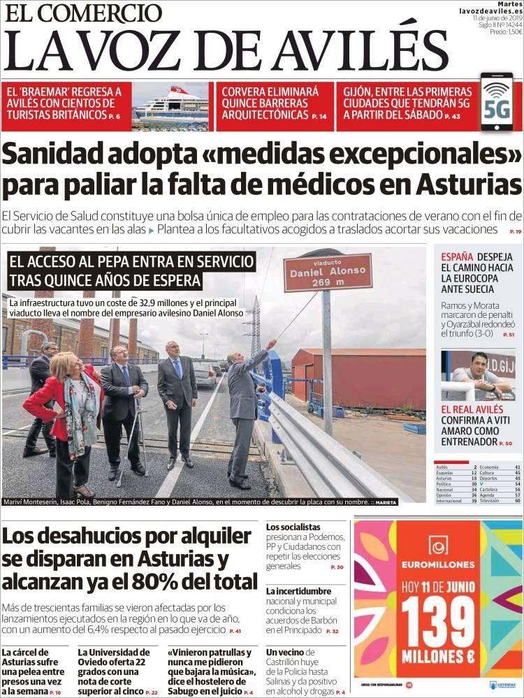 La Voz De Avilés 11 De Junio De 2019 Portadas De Periodicos Sanidad Portadas