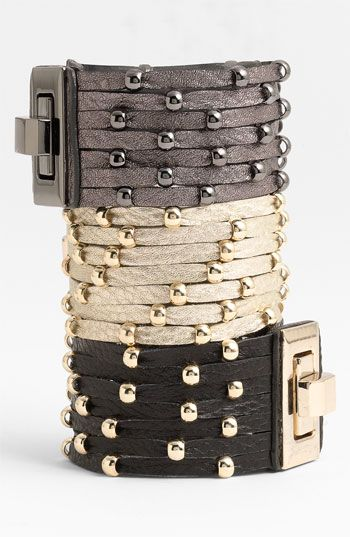 Cara Accessories Sliced Leather Studded Bracelet available at #Nordstrom - Want this in every color