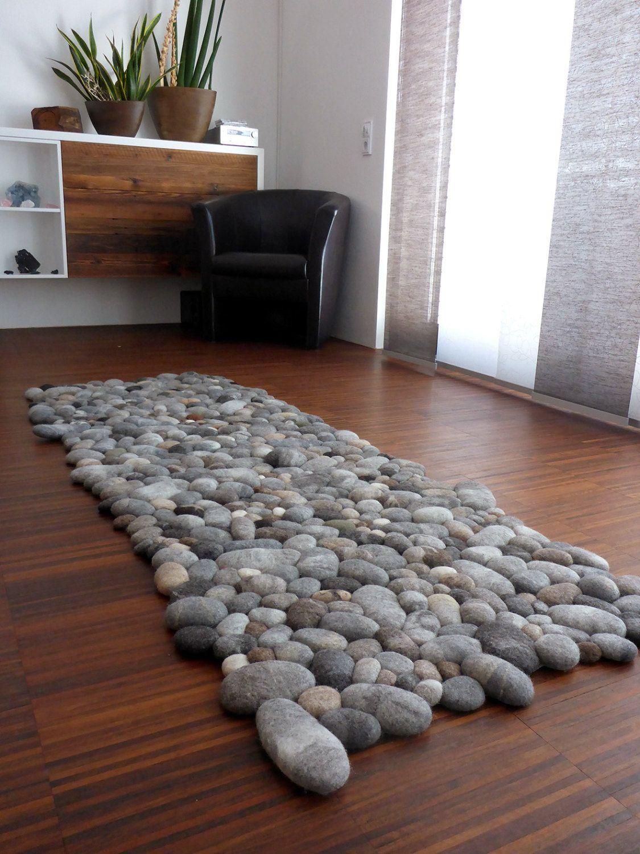 felt carpet supersoft pebbles - felt stone carpet, wool from sheep & lama  by flussdesign