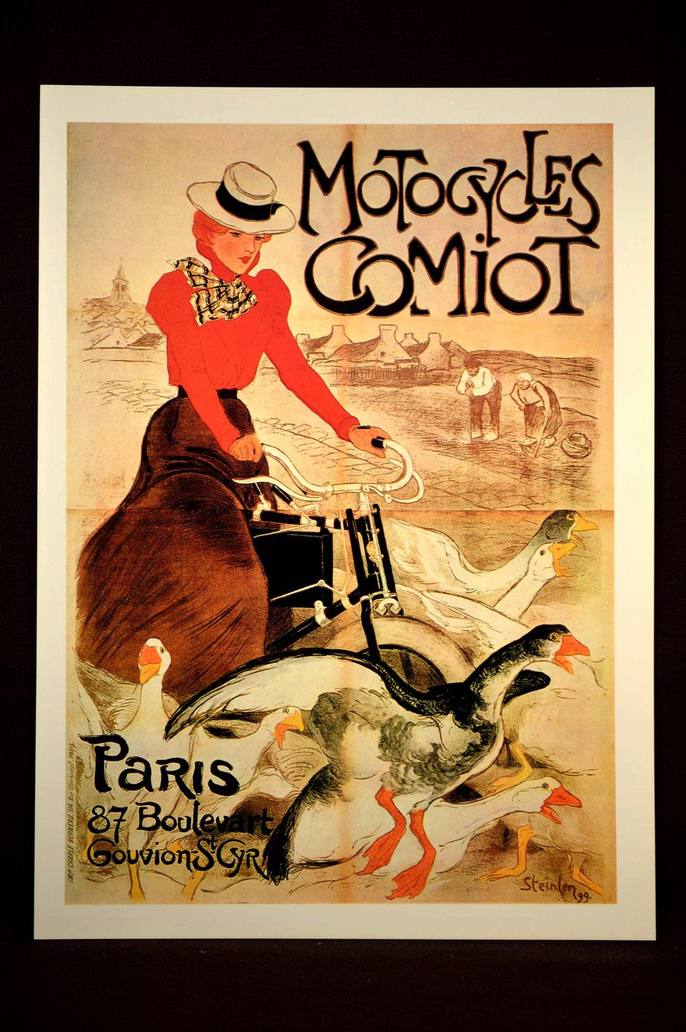 French Bicycle Ad Poster Paris Motorcycle Advertisement | Wall ...