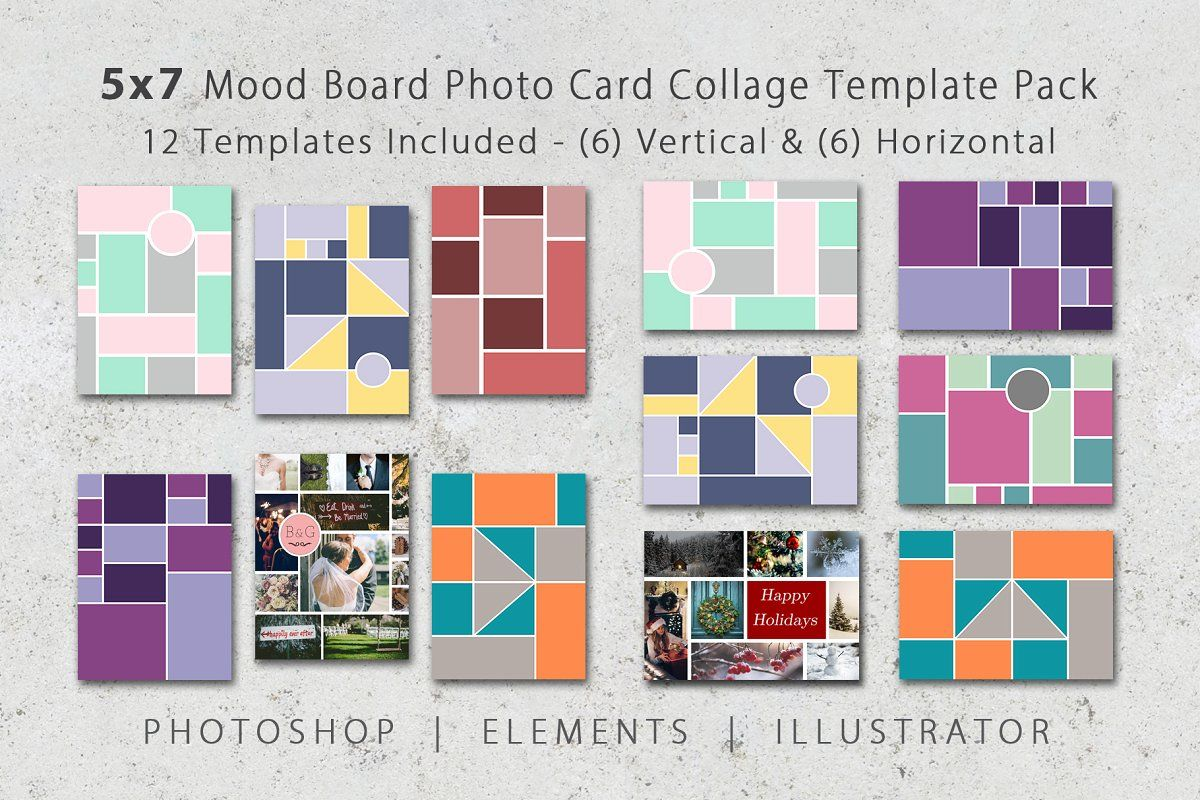 5x7 Photo Card Collage Template Pack Collage Template Photo Collage Template Card Templates
