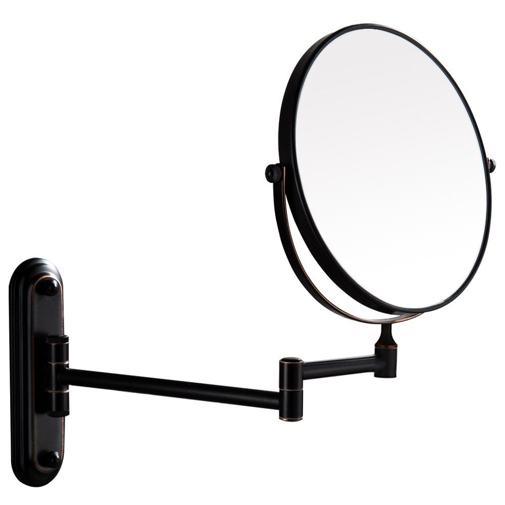 Gecious Wall Mount Vanity Mirror1x 10x Magnification360 Swivel 12 Extension Twoside Retractable Oil Rubbed Wall Mounted Vanity Makeup Magnifying Mirror Mirror