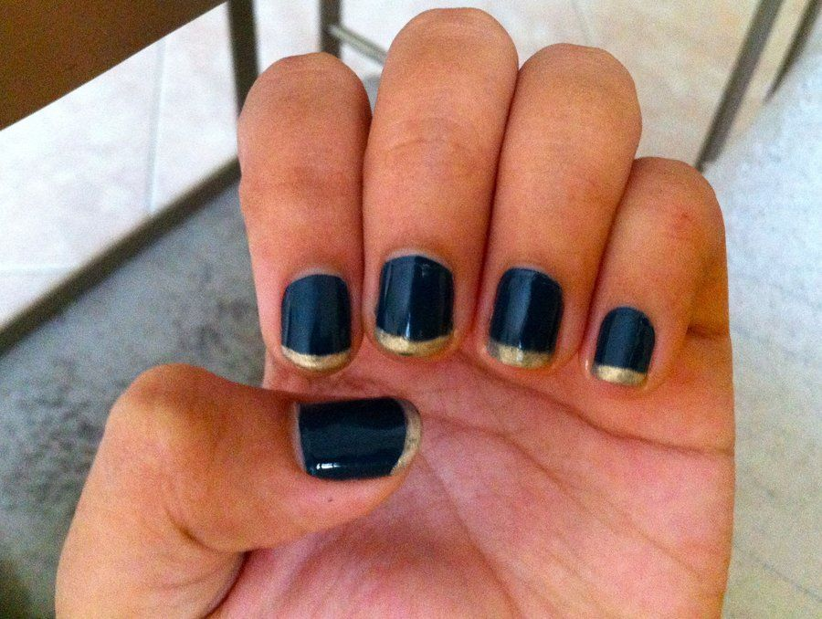 Nails Navy Blue Nails with Gold Tips by inginging | My Style ...