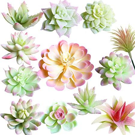 12pcs Mini Artificial Green Plants Faux Succulent Home Garden DIY Wedding Decor