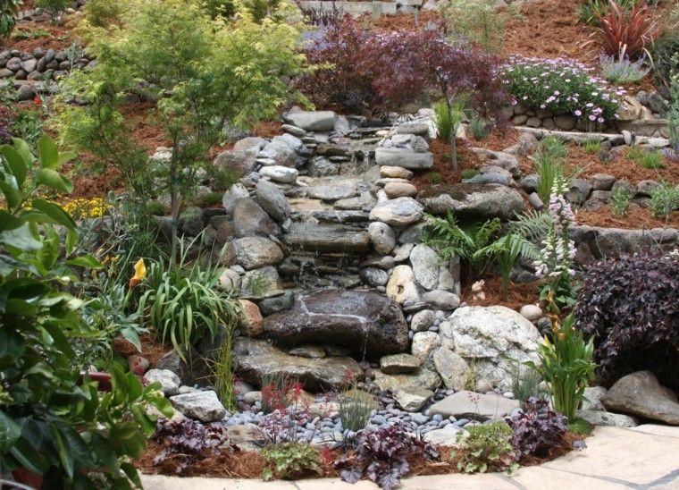 Cascada de jardin con rocas y plantas agua fuentes de for Fuentes ornamentales jardin