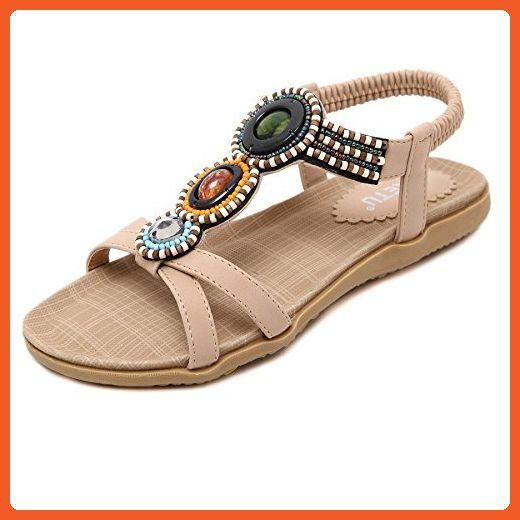 ceac58f76a056 D2C Beauty Women's Summer Beach Bohemian Beads Open-toe Flat Sandals ...