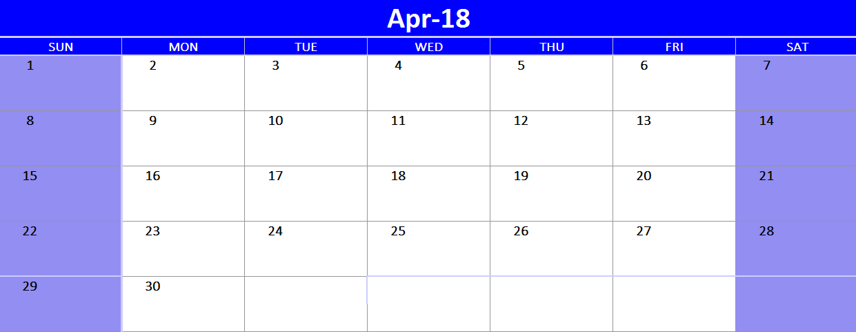 Excel  April Free Calendar Template   Printable Calendars