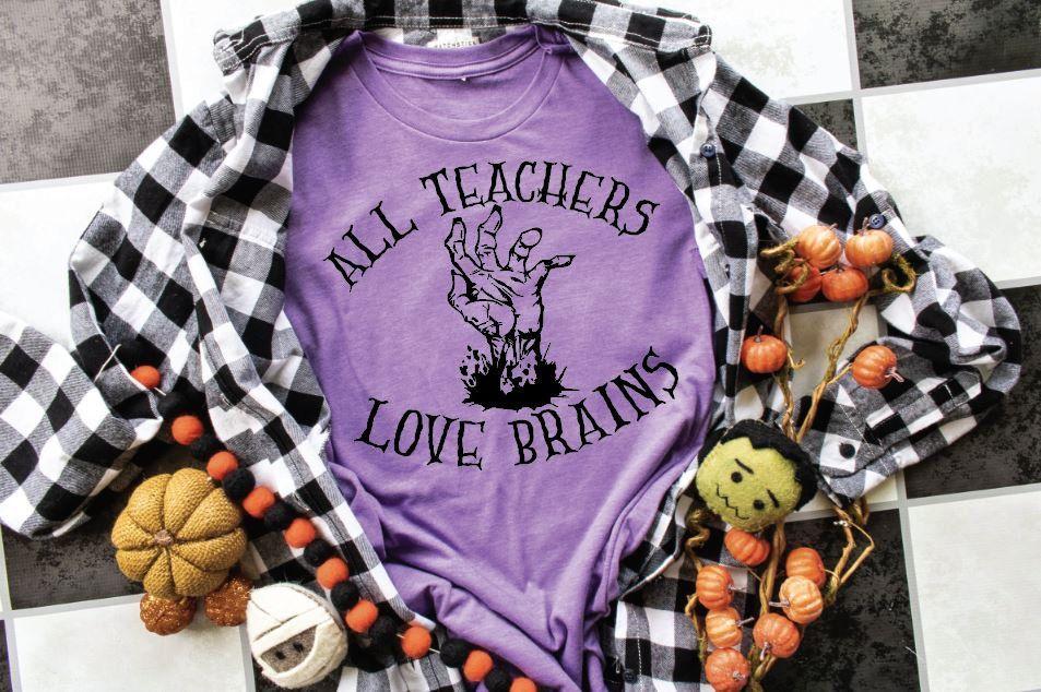 All Teachers Love Brains, Halloween Shirts, School Shirts, Teacher Shirts, Halloween Gifts #HalloweenShirts #GiftsForMom #TeacherShirts #SchoolShirts #TeacherGifts #LoveBrains #GiftsForWife #GiftsForSister #AllTeachers #FunnyShirts