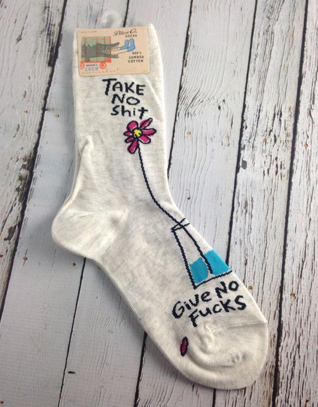 9bec98a71f9d Take No Shit Women's Crew Socks | Feminist Finds | Socks, Crew socks ...