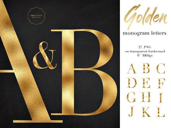 Gold Alphabet Clipart Gold Monogram Letters Clip Art Gold Foil