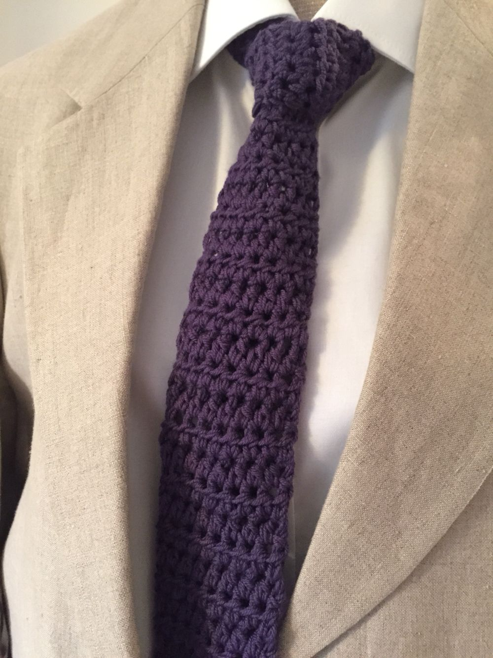 Crochet neck tie made for my Brothers birthday - purple is his ...