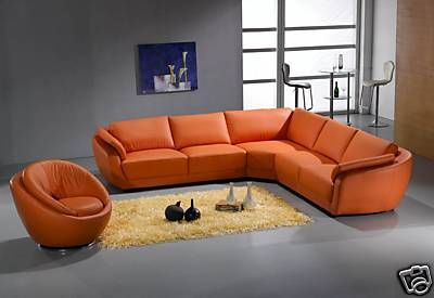 Italian Leather Living Room Sectional Sofa Set Orange Ebay Contemporary Leather Sectional Sofa Leather Couch Furniture Orange Furniture