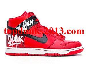 Cheap High Top Do The Dew Red Custom Nike Dunk Men Free Shipping