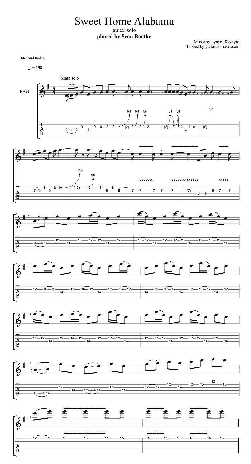 Lynyrd Skynyrd Sweet Home Alabama Solo Tab Pdf Guitar Tab