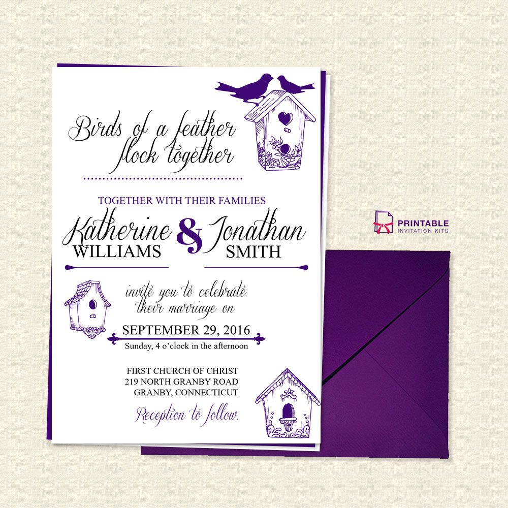 Birds Of A Feather Wedding Invitation Template