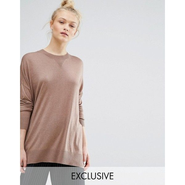 Monki Oversized Fine Knit Jumper ($37) ❤ liked on Polyvore featuring tops, sweaters, beige, tall sweaters, oversized sweaters, tall tops, beige top and rayon tops