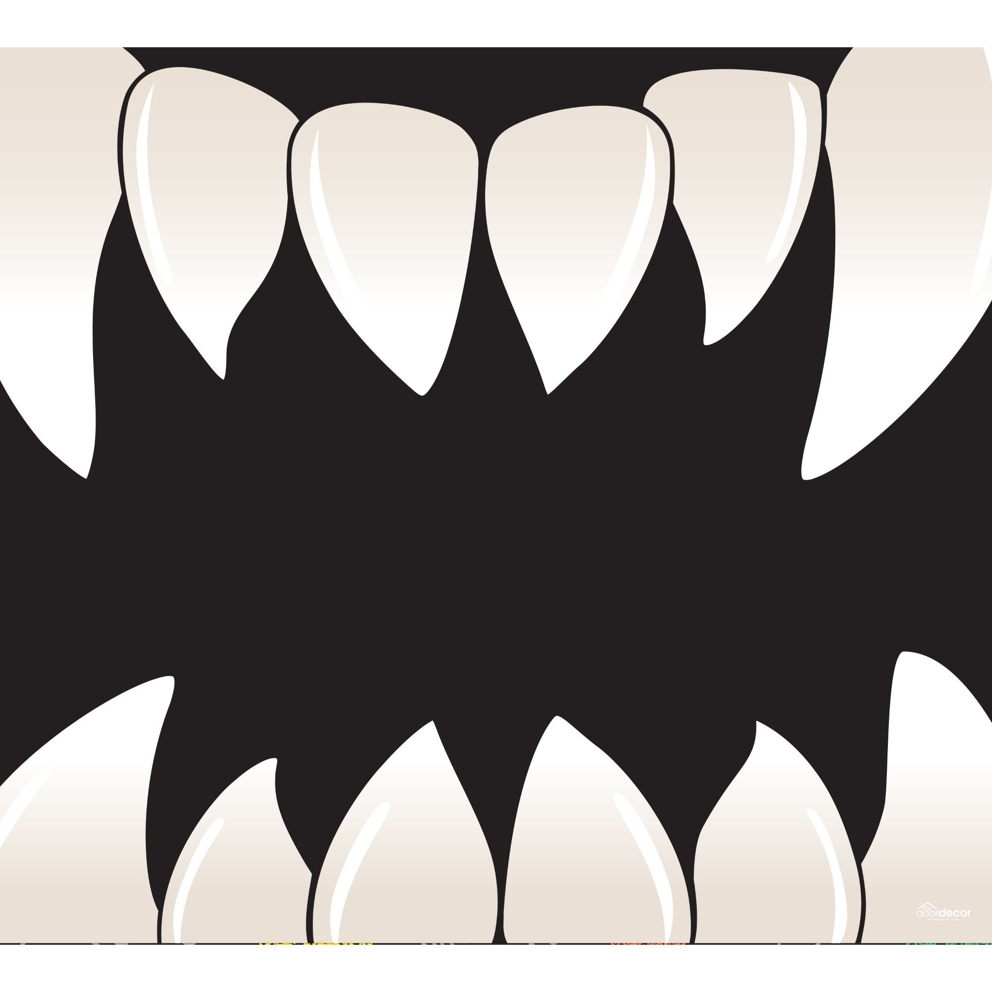 7' x 8' Black and White Scary Teeth Halloween Sing