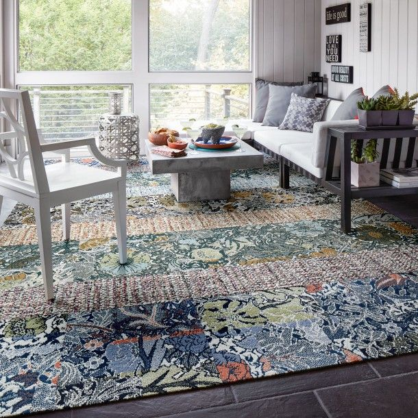 This Area Rug Features Tailored Touch In Coral Clementine Light Blue Among The Wildflowers In Periwinkle Ivy And Palm This A Carpet Tiles Home Decor Home