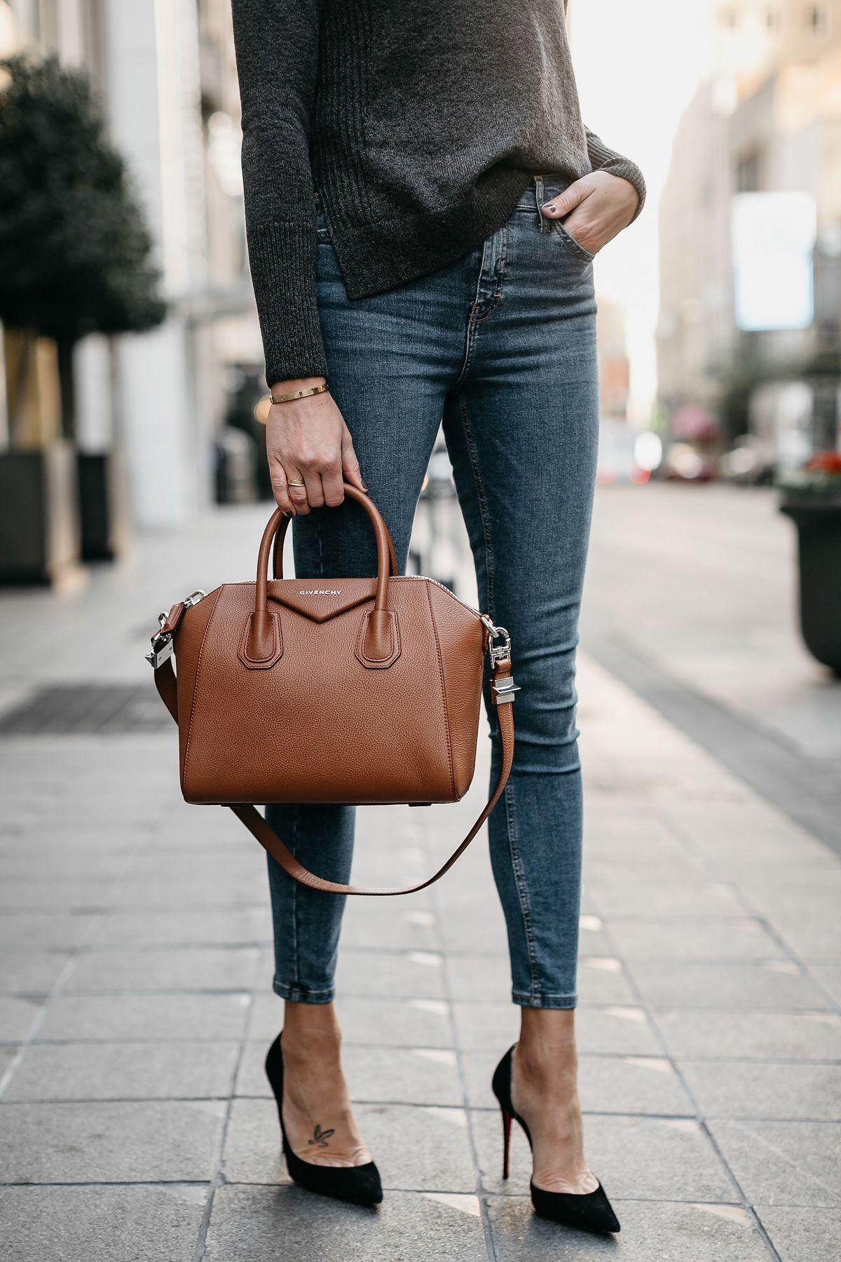 e356c3949447 Grey Sweater Denim Skinny Jeans Givenchy Antigona Cognac Handbag Black  Pumps Fashion Jackson Dallas Blogger Fashion Blogger Street Style