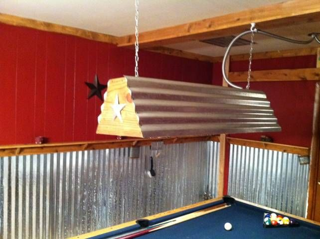 Cool pool table light that my husband made bar for Pool table light plans