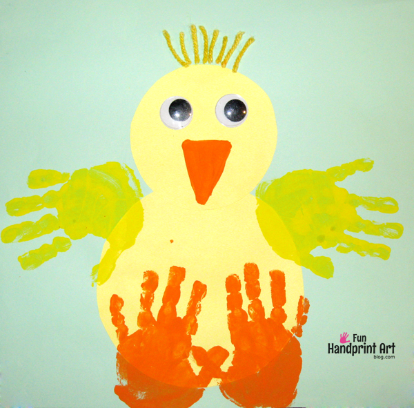 Easter Card Ideas For Children To Make Part - 33: Handprint Baby Chick Craft-and Other Ideas For Hand And Foot Print Art For Kids  Easter-ideas-i-love-eggs
