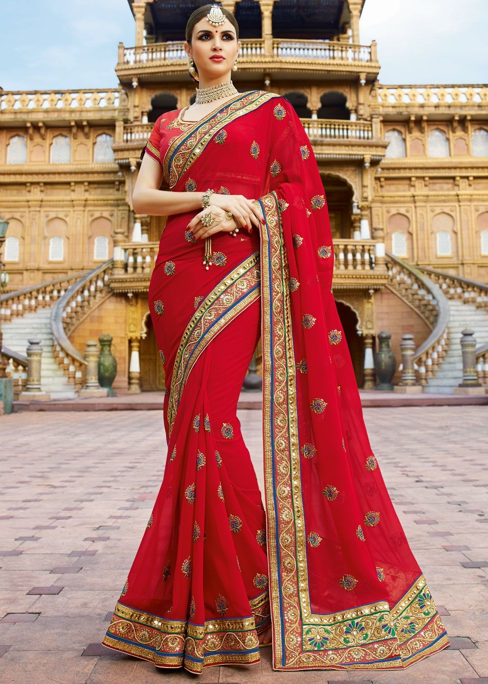 684306af81a918 #Redsaree in soft #georgette embellished with zari, thread work and lace  border. Find this Pin and more on Party Wear Sarees with Designer Blouses  ...