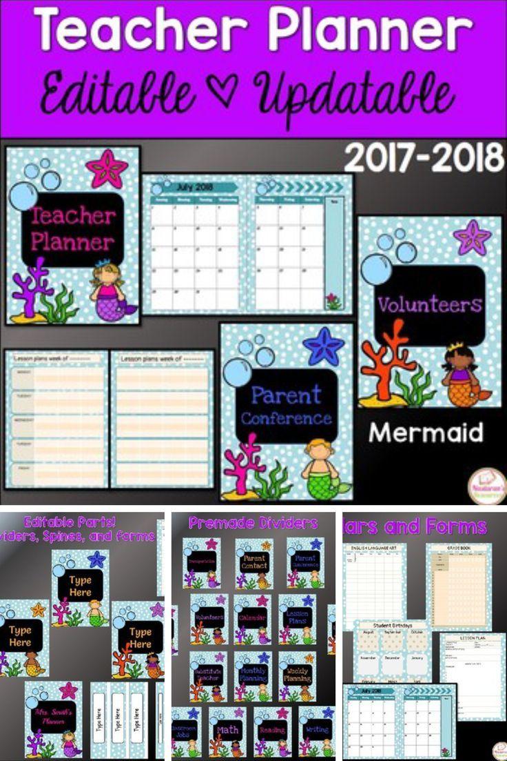 teacher planner 2017 2018 editable teacher binder 2017 2018 mermaid