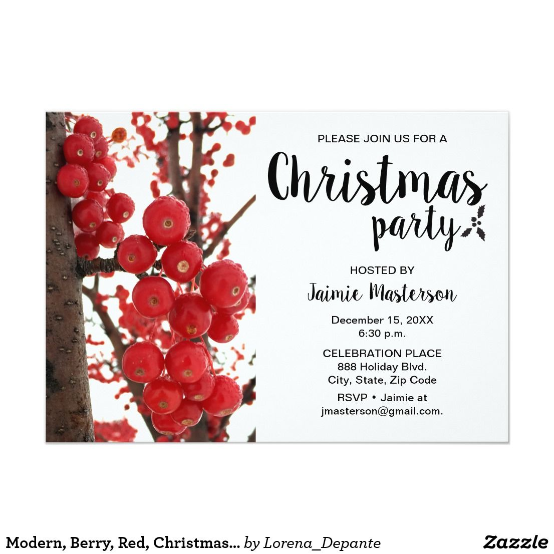 Modern, Berry, Red, Christmas Party Invitation | Red christmas ...